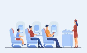 Air trip with comfort flat vector illustration