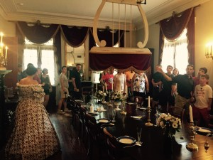Touring inside Oak Alley's dining room