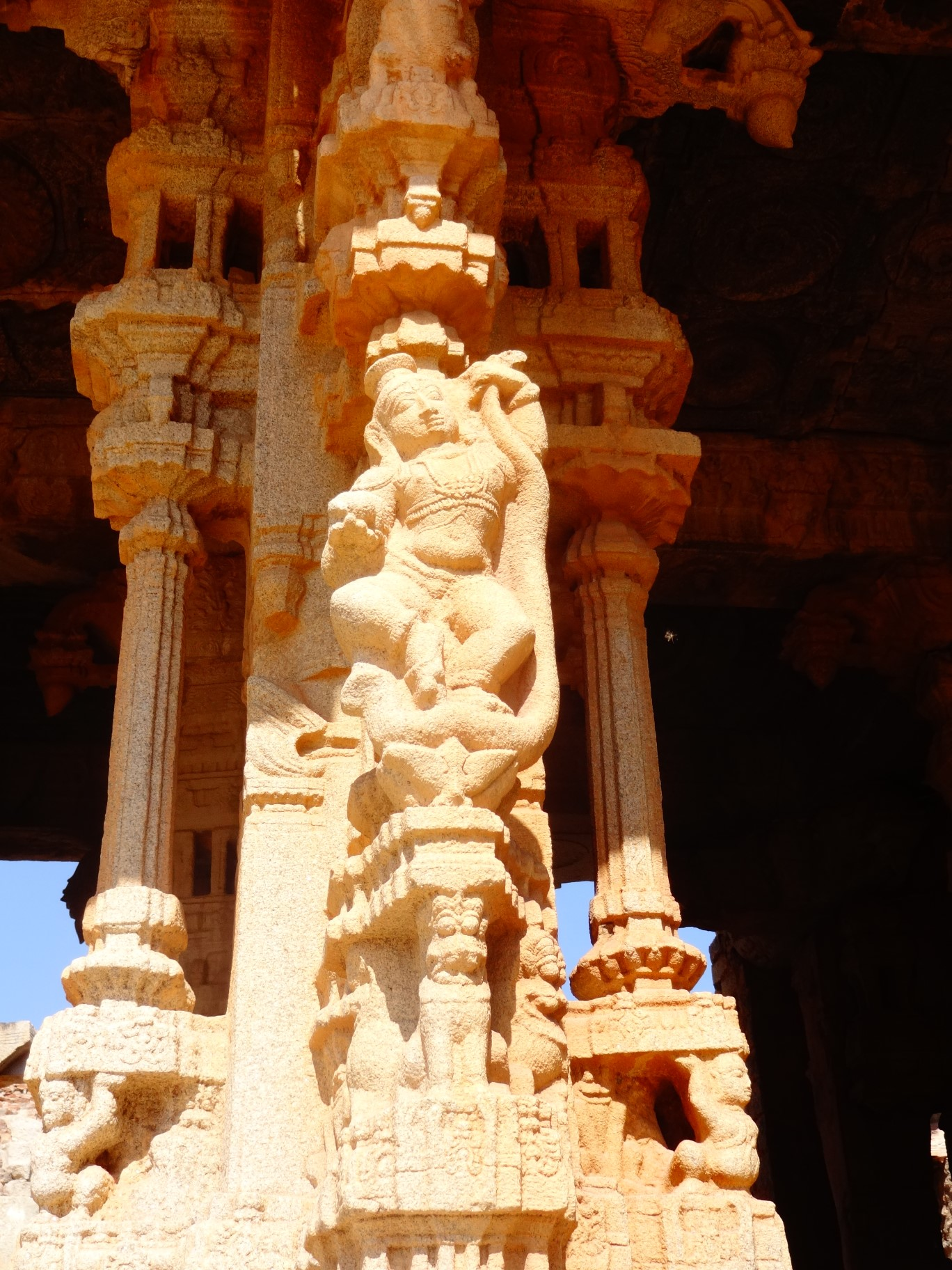 Detailed carvings on the pillars