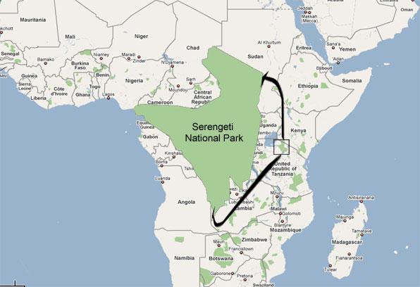Serengeti National Park at Tanzania-Kenya border