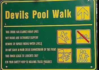 Signboard at Devils Swimming Pool