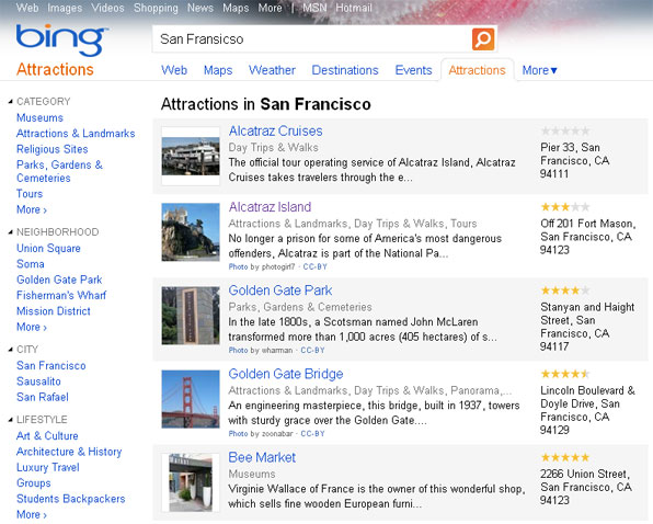 Bing Attractions