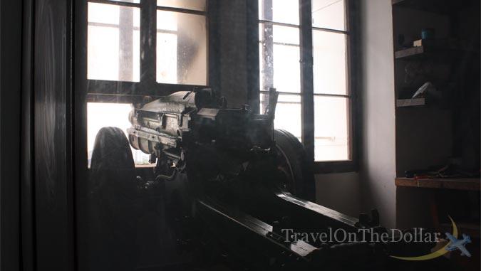 Zagreb Cannon firing shot from Lotrščak Tower