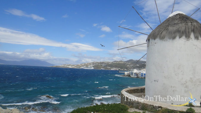 The iconic windmills overlooking the wild Aegean Seas