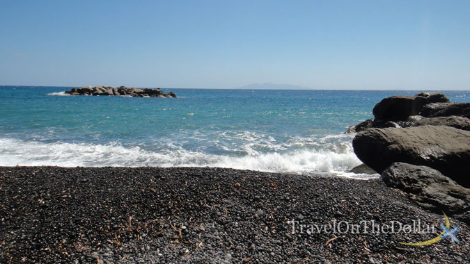 Black pebble beach of Kamari