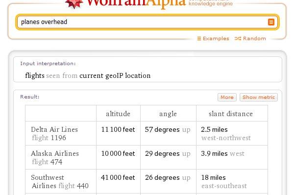 Wolfram Alpha - Planes Overhead