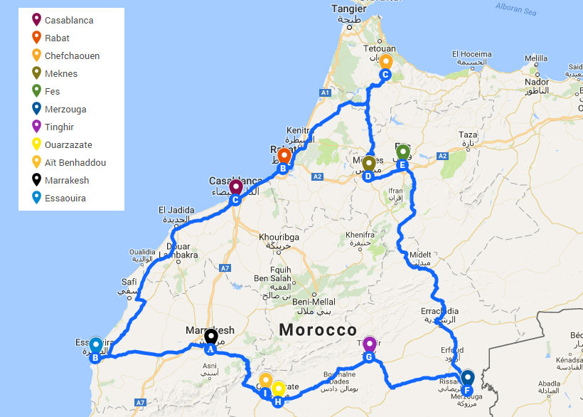 Itinerary for fifteen days in Morocco