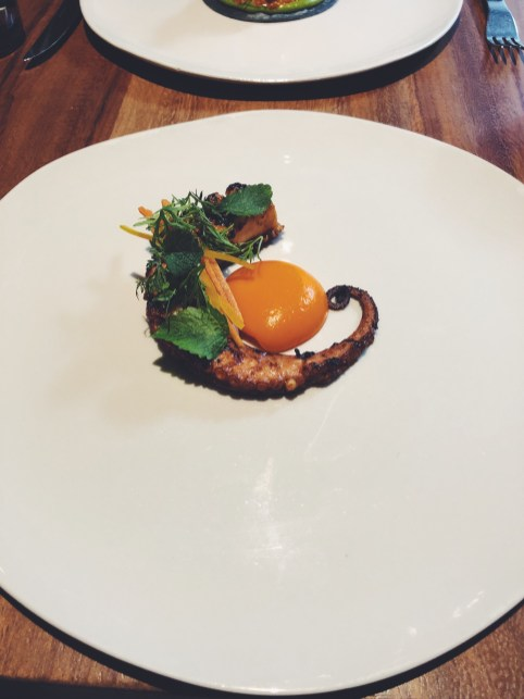 Octopus, chintextle, pickled carrot, Pujol, Mexico City