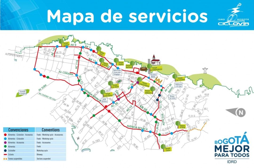 Map of the Ciclovia in Bogota