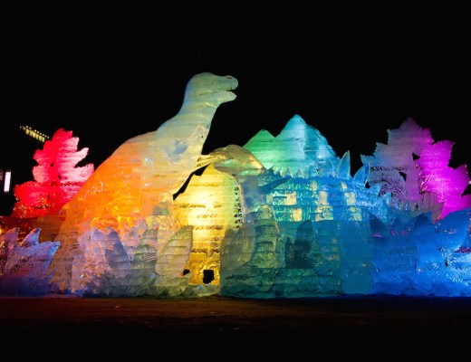 Colorful Dinosaurs at Sapporo Snow Festival
