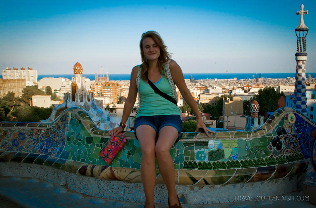 Sitting at Parc Guell in Barcelona