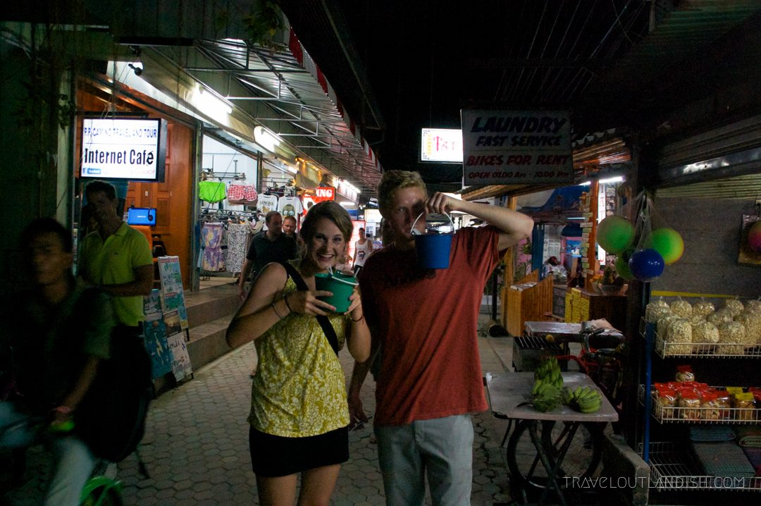 Drinking whiskey buckets in Koh Phi Phi