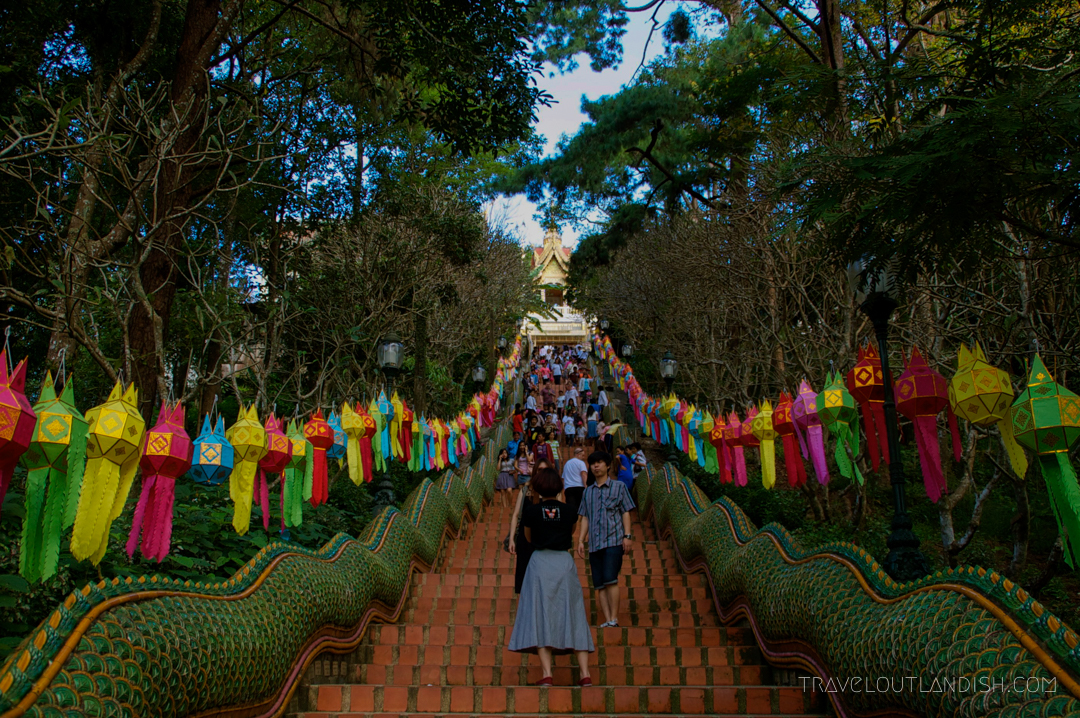 Fun Things to do in Chiang Mai - Lantern lined steps to Doi Suthep