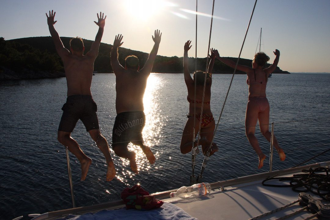Jumping off a boat in Croatia