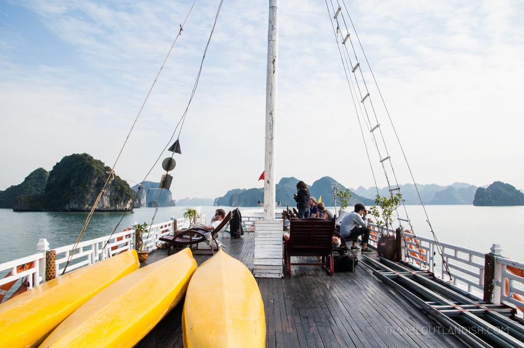 Bai Tu Long Bay Cruise - A View of Bai Tu Long Bay from the deck