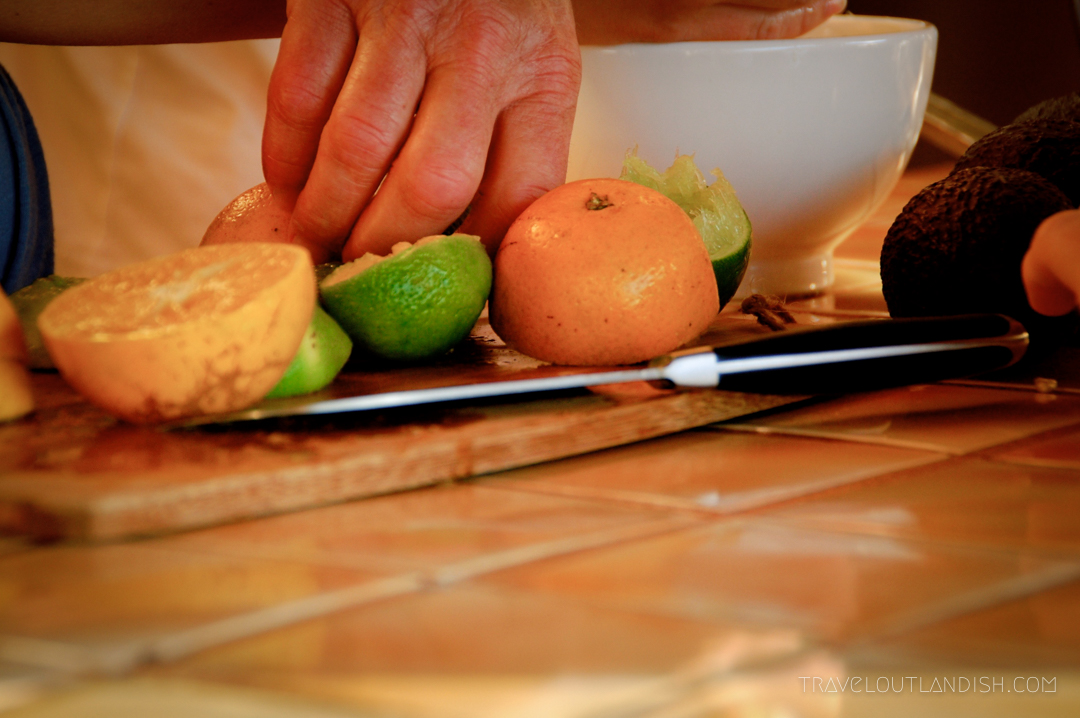 Cutting citrus for Mexican ceviche