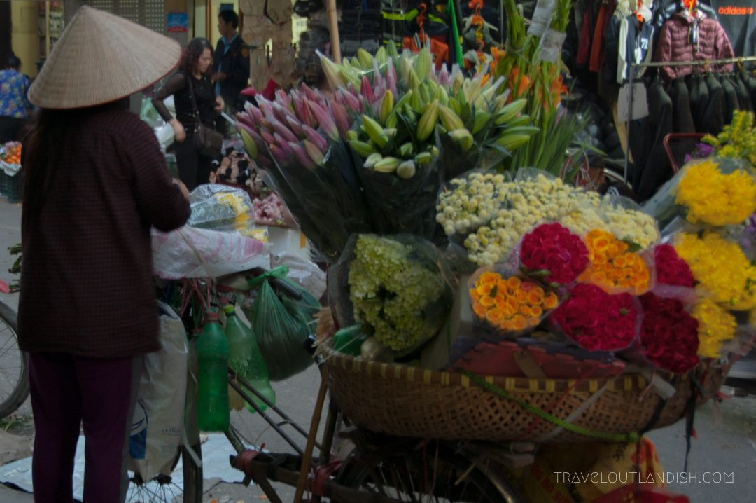 Northern Vietnamese Street Food - Flower lady in Vietnam Market