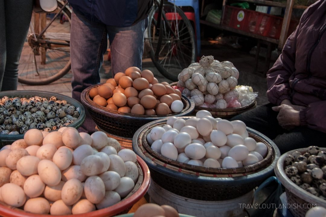 Northern Vietnamese Street Food - Variety of eggs in Hanoi night market