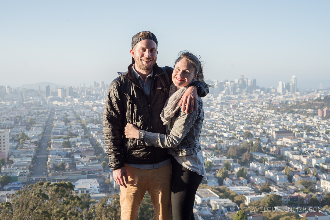 Taylor + Daniel at Bernal Heights before South America Backpacking Trip