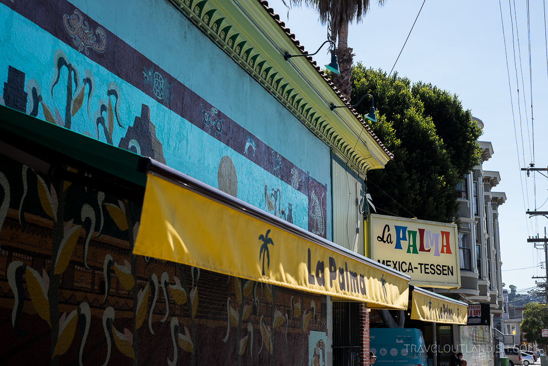 Outside of La Palma, a shop where they make their own tortillas and some of the best tacos in San Francisco