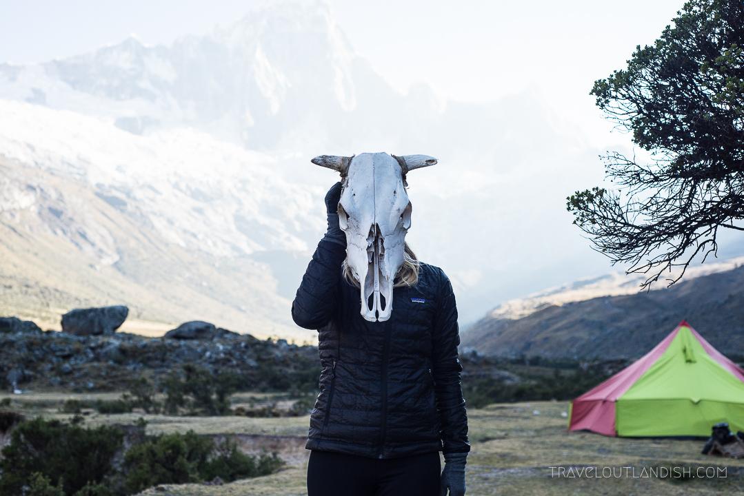 Trekking the Santa Cruz Trek in Huaraz, Peru - Skull at Camp