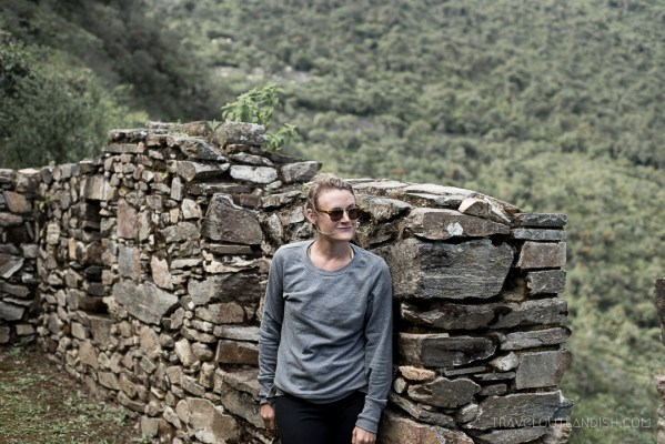 Choquequirao Ruins - Taylor with the Ruins from afar