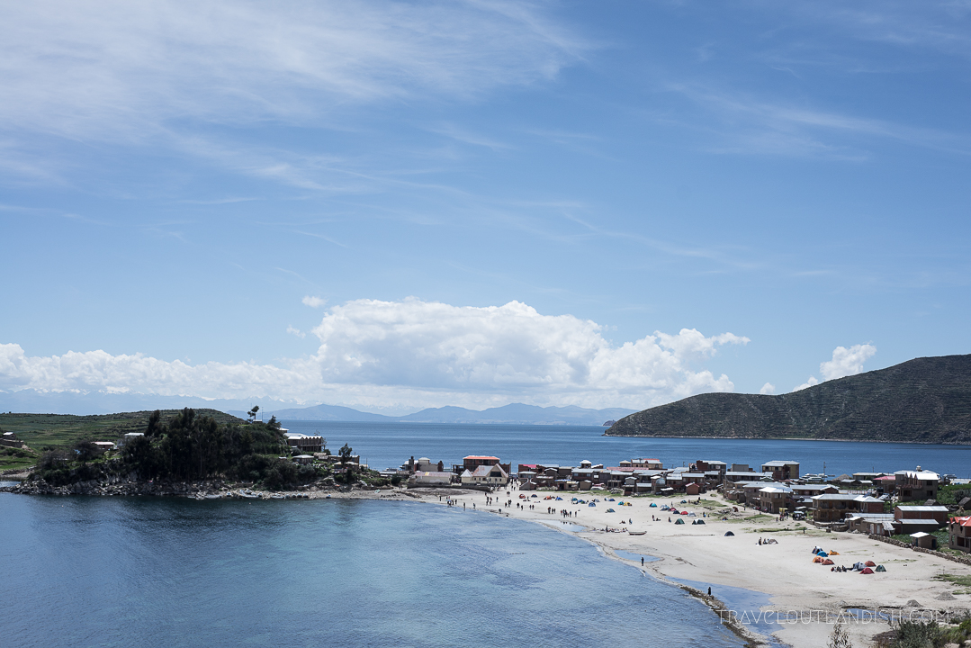 View of campgrounds on Isla del Sol