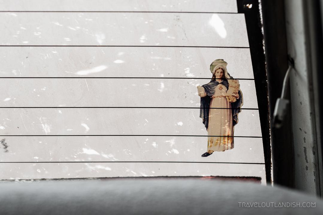 Salar de Uyuni Tours - Virgin Mary Sticker in the Car