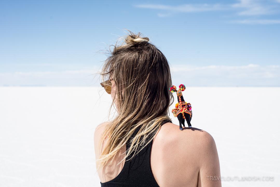 Salar de Uyuni Tour - Llama on Taylor's Shoulder