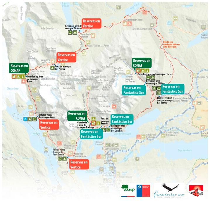 Campsites in Torres del Paine