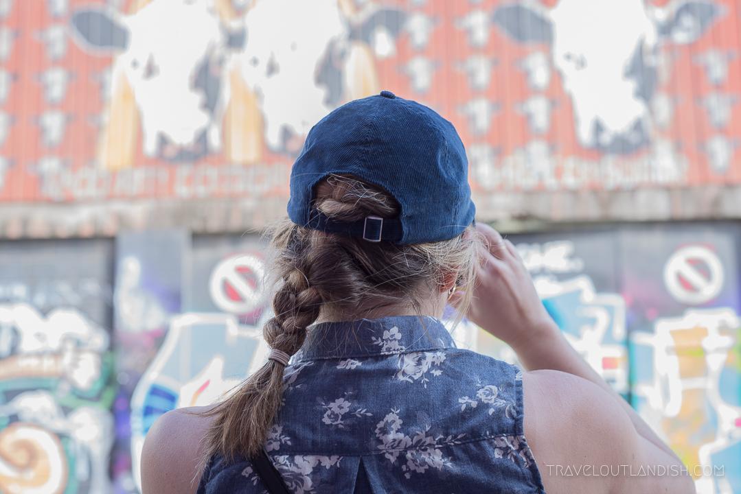 Vaparaiso Street Art - Ally checking out the street art