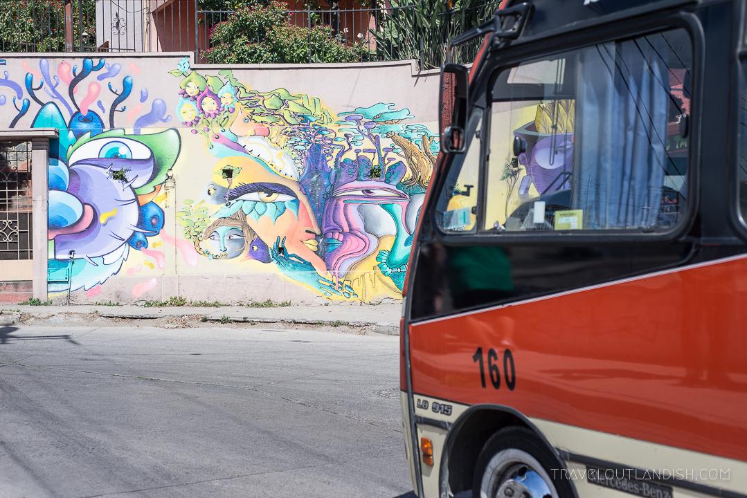Vaparaiso Street Art -Bus Crossing a Colorful Mural