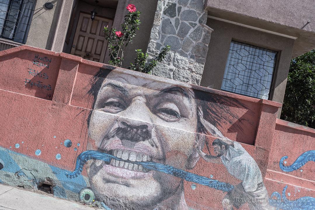 Valparaiso Street Art - Man Eating an Octopus