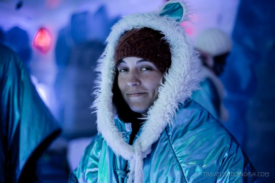 Ice Bar Argentina - Laura in the Polar Bear Suit