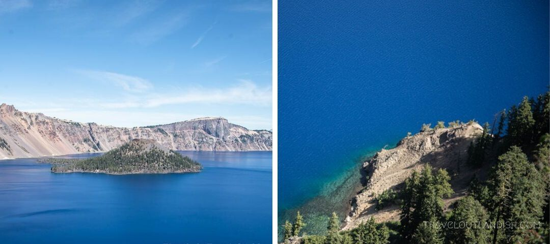 Brilliant blue water at Crater Lake National Park