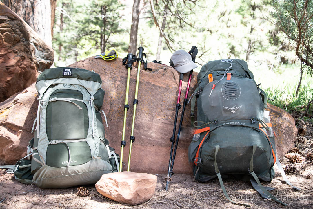 Backpacks loaded up for the Zion Traverse
