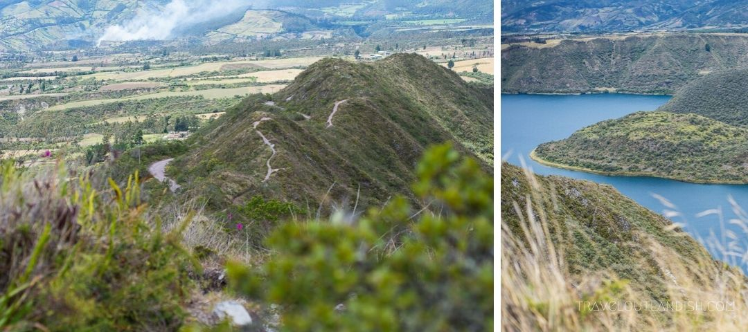 Collage of images from the hike around Laguna Cuicocha