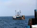 Fishing trawler leaving Nantucket Harbor.