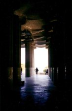 Shadows under the main platform at the Parque Guell