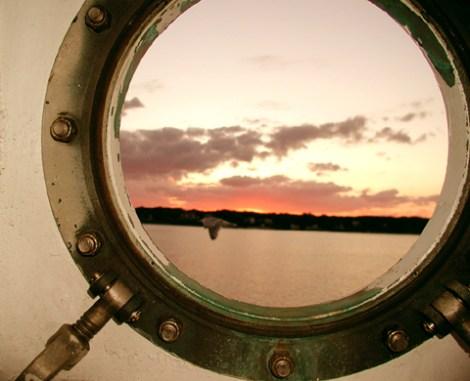 Reflection in ferry window