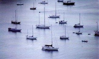 Boats at mooring; English Harbor