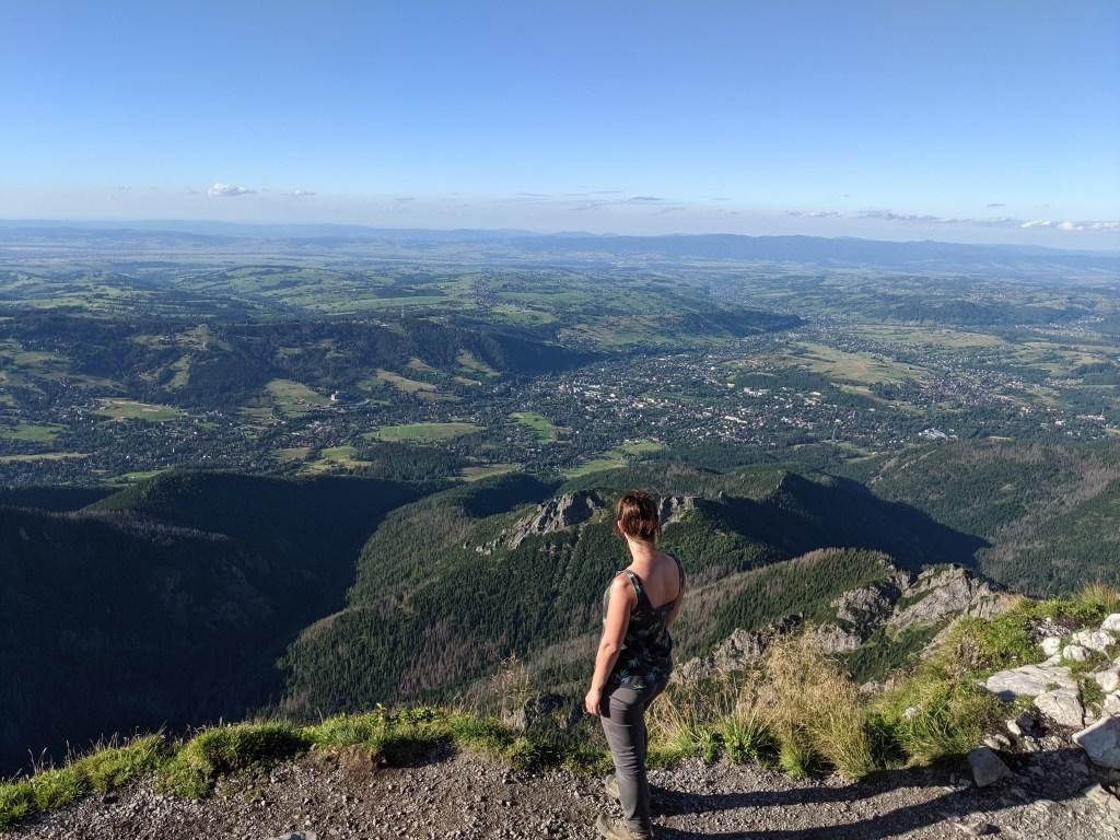 Giewont widok ze szczytu na Zakopane