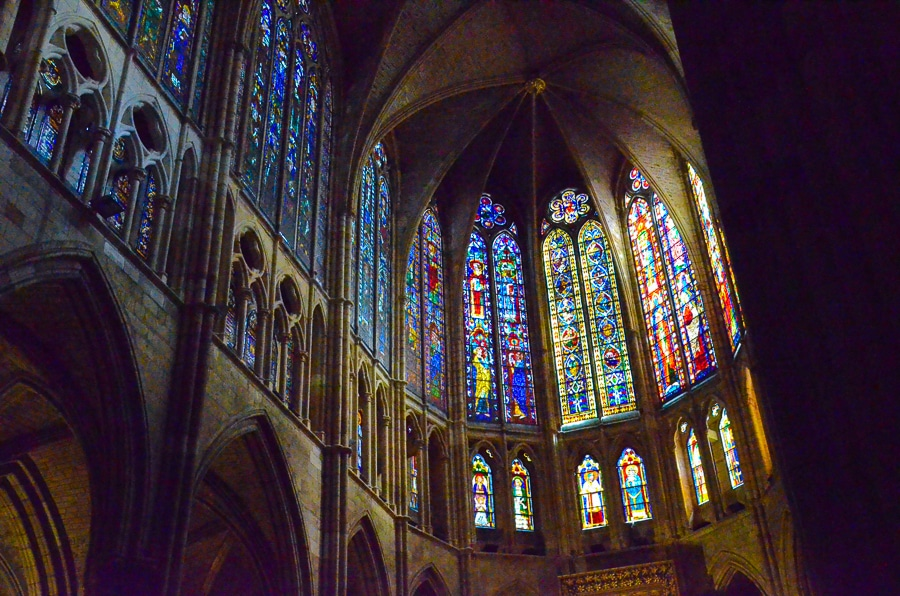 windows of the cathedral of leon spain travel past 50