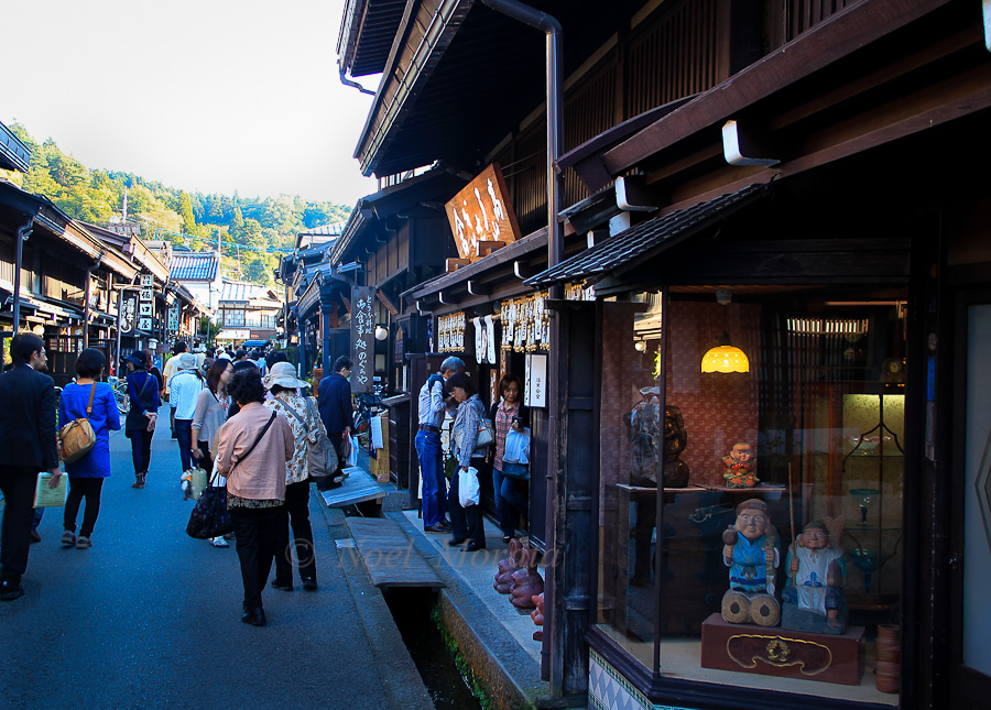 Shopping district with sake shops and crafts stores