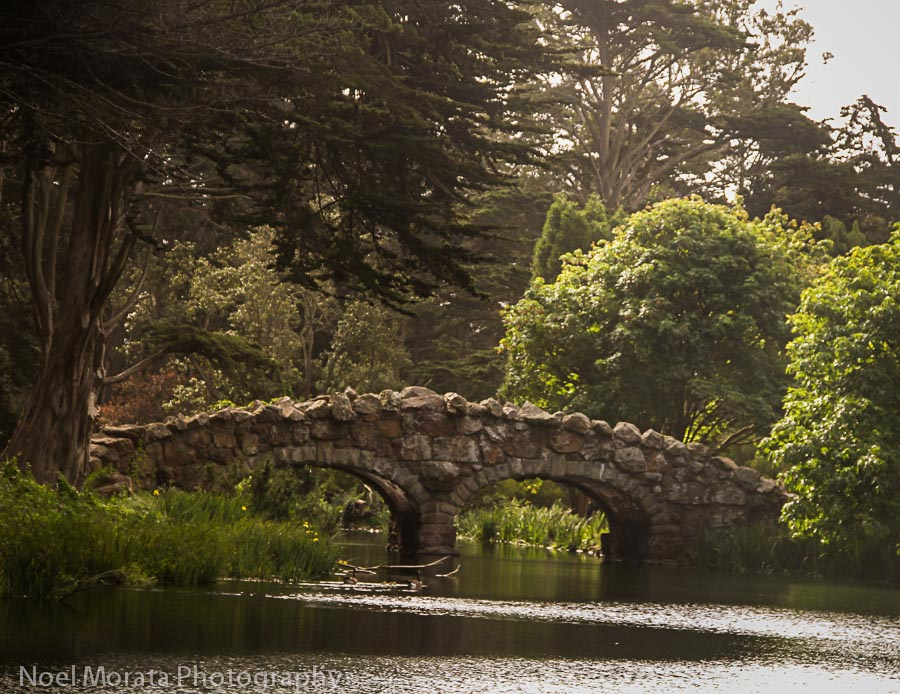 Stone bridge at Stow Lake in Golden Gate park