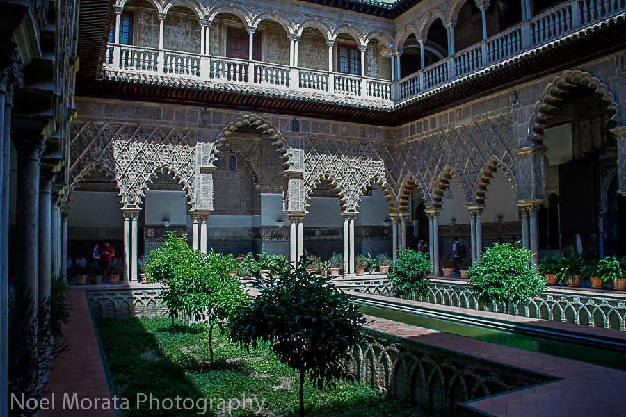 The courtyard of the maidens at the Alcazar in Seville