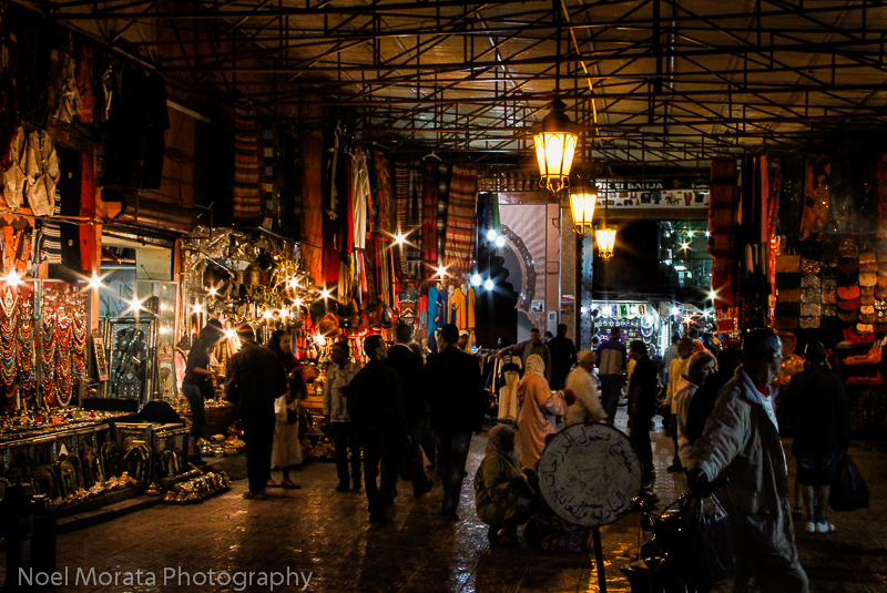 The souk at Jemaa El Fna in Marrakesh