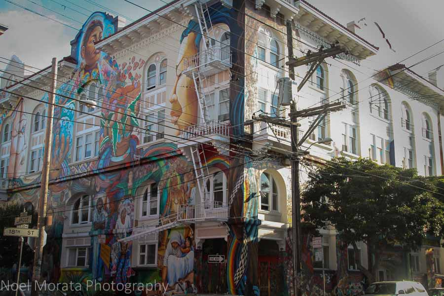 Entire buildings of painted street art facades