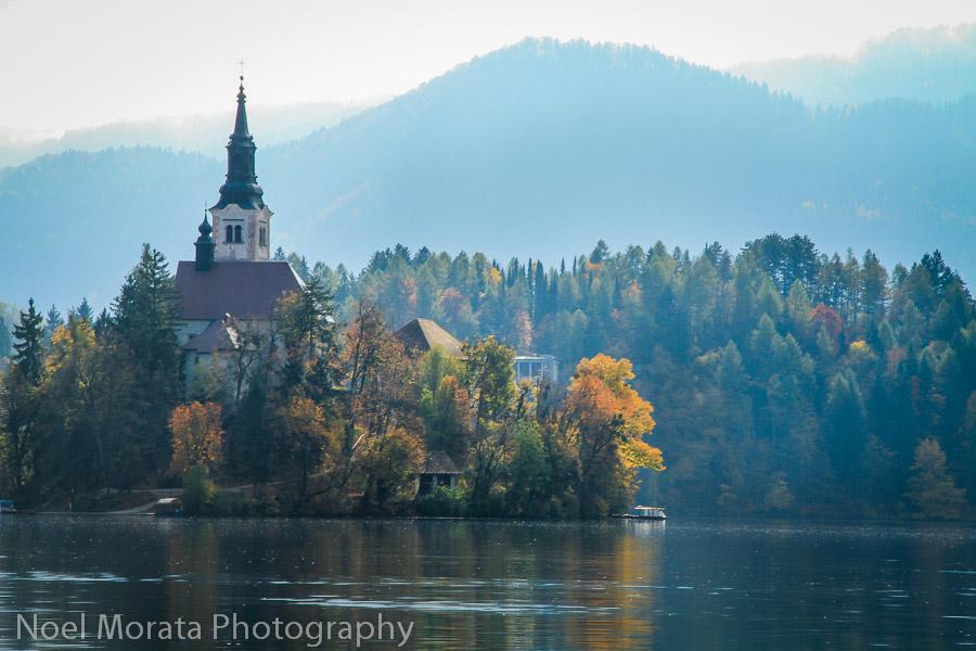 Moring views -The Church of the Assumption at Lake Bled