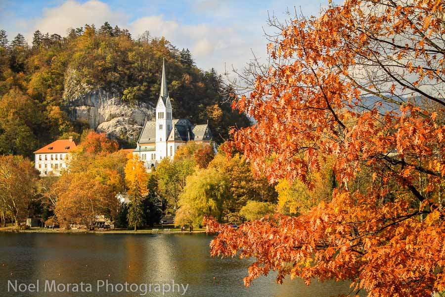 The town of Bled with fall colors